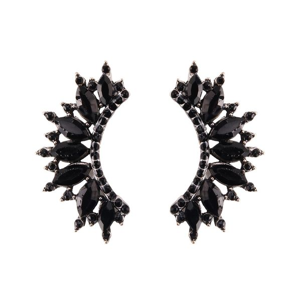 Imitated crystal&CZ Fashion Geometric earring  (black) NHJQ11074-black