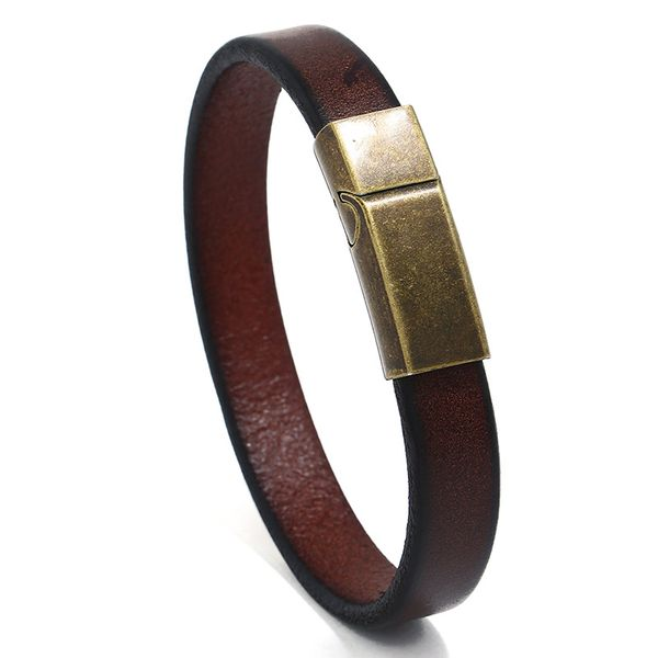 Leather Fashion Geometric bracelet  (Dark brown 20.5CM) NHPK2198-Dark-brown-20.5CM