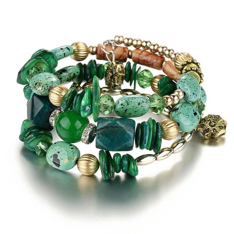 Alloy Fashion Geometric bracelet  (Green GEM04-01) NHPJ0201-Green-GEM04-01
