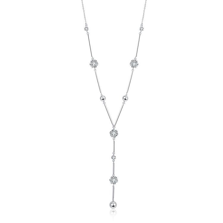 Plated alloy sweater chain  flower heart platinum NHKSE29749