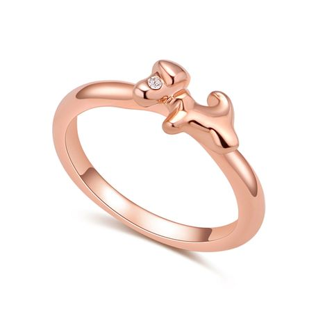 Plated alloy ring - cute little cute dog (rose alloy + white) NHKSE29819-7's discount tags