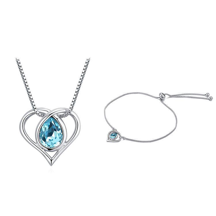 Austrian Imitated crystal Set - Heart of Water Spirit (Sea Blue) NHKSE29893