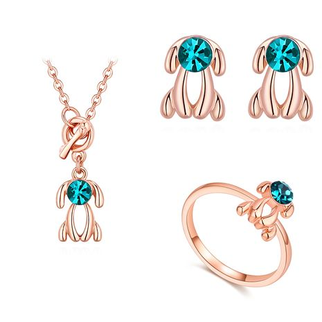 Plated alloy set - Puppypuppy (blue zircon + rose alloy) NHKSE29882's discount tags