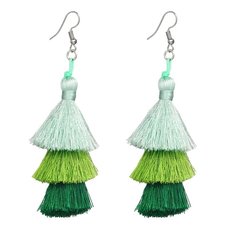 Alloy Fashion Tassel earring  (Green GEO02-03) NHPJ0246-Green-GEO02-03