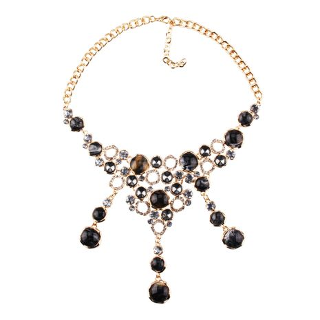Imitated crystal&CZ Fashion Geometric necklace  (black) NHJQ11001-black's discount tags