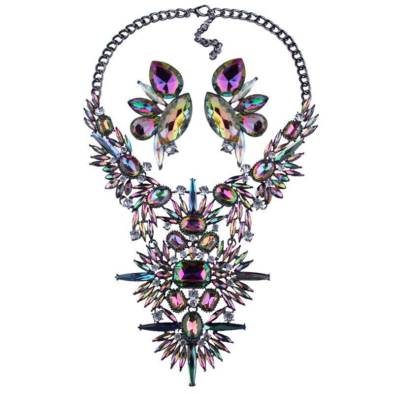 Imitated crystalCZ Fashion Geometric necklace  Colorful NHJQ11015Colorful