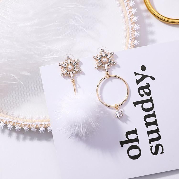 Alloy Korea Sweetheart earring  (A ring hair ball) NHMS1838-A-ring-hair-ball