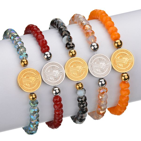 Titanium&Stainless Steel Bohemia Geometric bracelet  (Red steel) NHHF1183-Red-steel