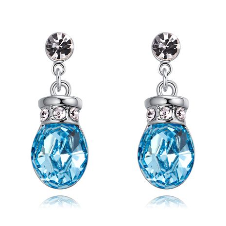 Austrian Imitated crystal Earrings - Romantic Pot (Sea Blue) NHKSE29712's discount tags