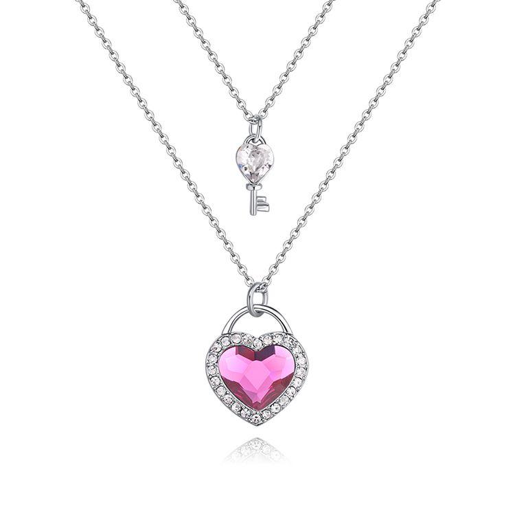 Austrian Imitated crystal Necklace  Heart Key Love White + Light Purple NHKSE29697