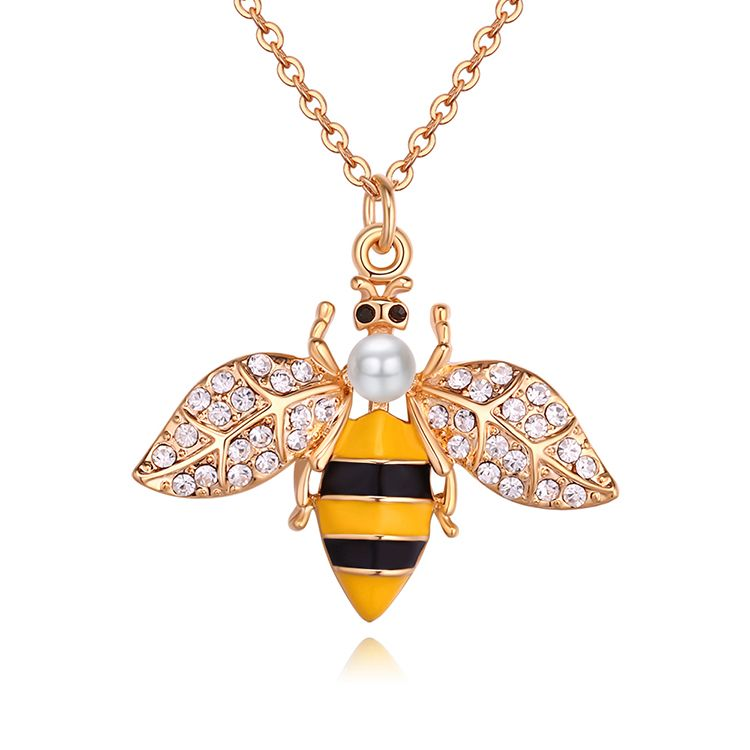 Imported Imitated crystal Necklace  Elf Little Bee Champagne Alloy + White NHKSE29668