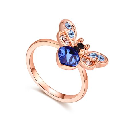 Austrian Imitated crystal Ring - Love Bee (Blue + Rose Alloy) NHKSE29672-9's discount tags