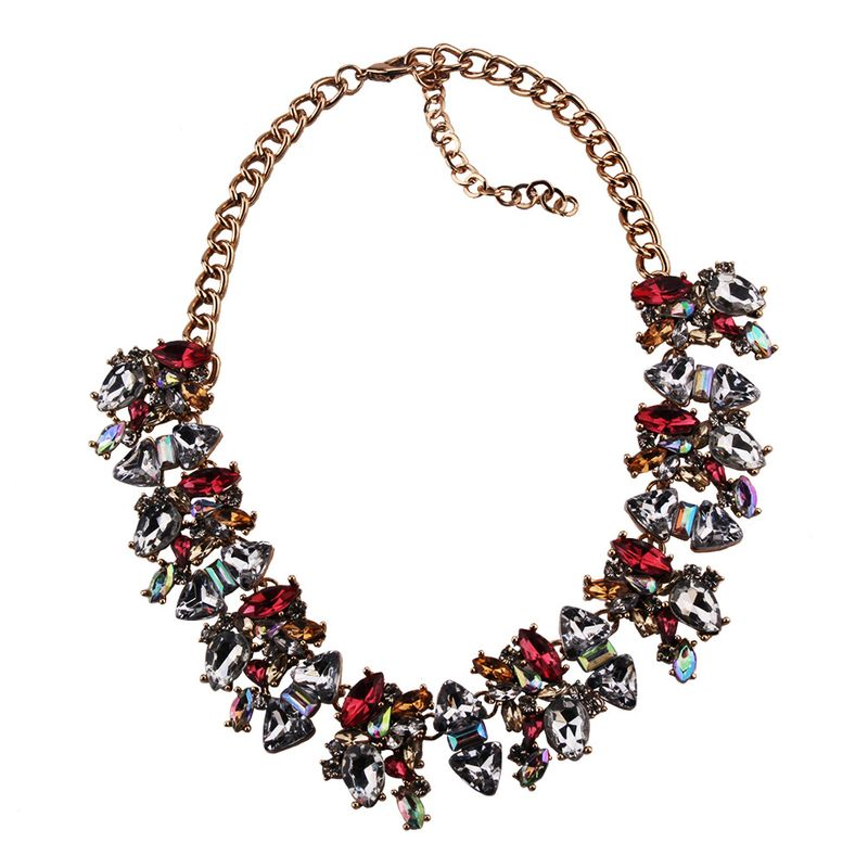 Imitated crystal&CZ Fashion Geometric necklace  (Dark red) NHJQ11162-Dark-red