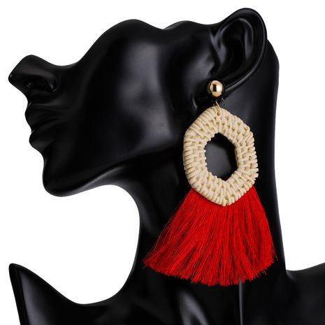 Cloth Fashion Tassel earring  (red) NHJE2420-red's discount tags