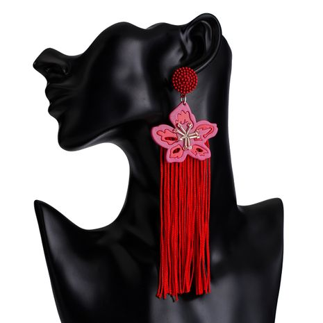 Cloth Fashion Tassel earring  (red) NHJE2421-red's discount tags