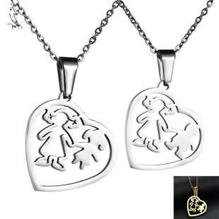 Titanium&Stainless Steel Fashion Sweetheart necklace  (Mother + daughter steel color) NHHF1249-Mother-daughter-steel-color's discount tags