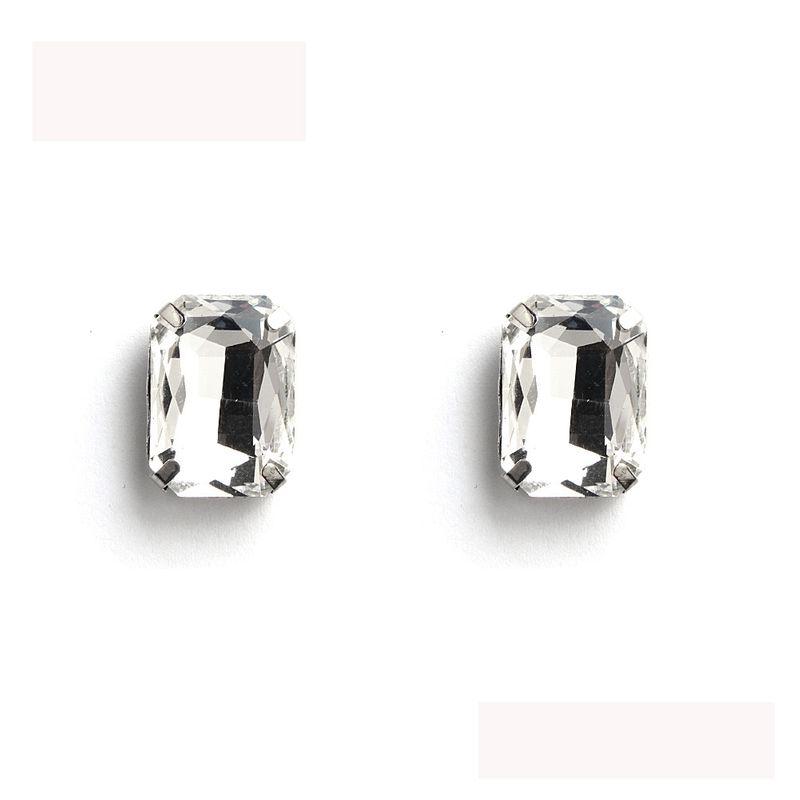 Imitated crystal&CZ Fashion Geometric earring  (White K+ white rhinestone) NHHS0632-White-K-white-rhinestone