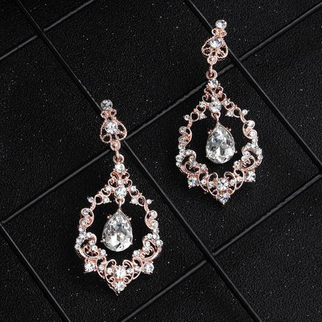 Pendiente geométrico de cristal imitado y CZ Fashion (aleación rosa) NHHS0634-aleación rosa's discount tags