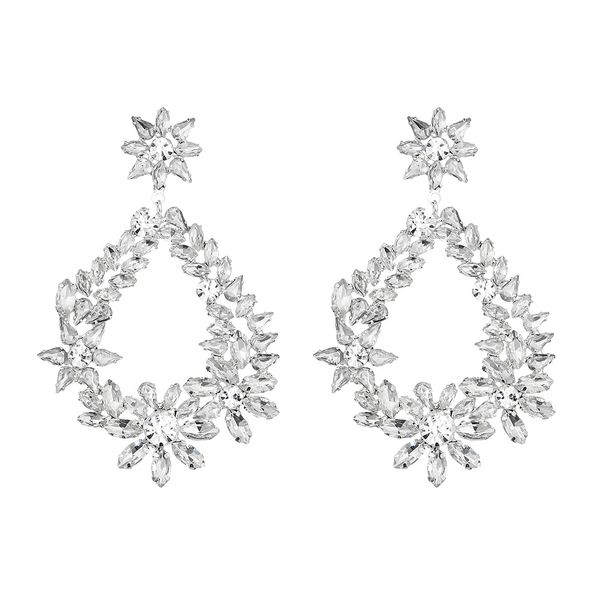 Imitated crystal&CZ Fashion Flowers earring  (Alloy) NHHS0637-Alloy