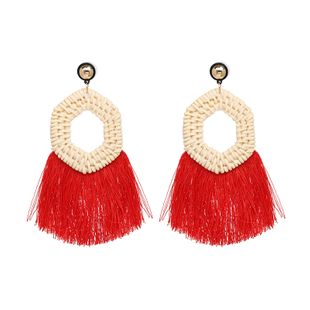 Plastic Fashion Tassel earring  (red) NHJJ5403-red's discount tags