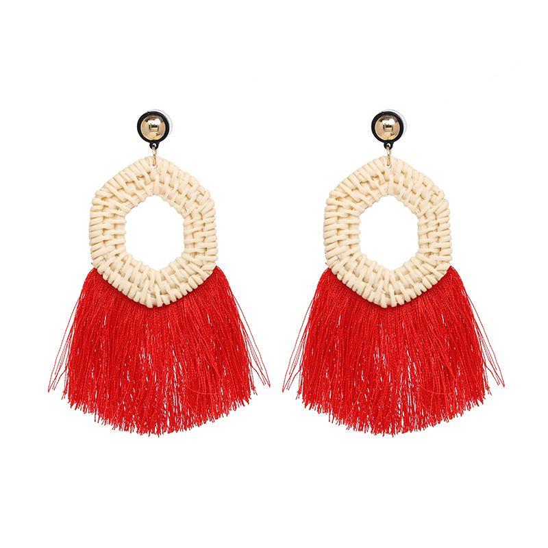 Plastic Fashion Tassel earring  red NHJJ5403red