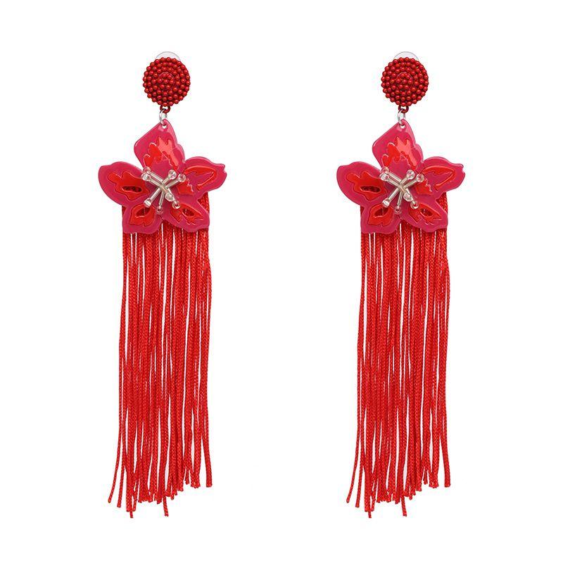 Plastic Fashion Flowers earring  (red) NHJJ5404-red