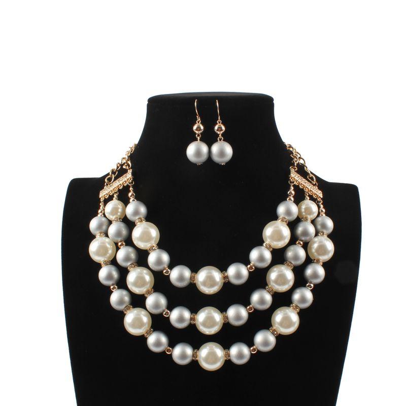 Beads Fashion Geometric necklace  (white) NHCT0385-white