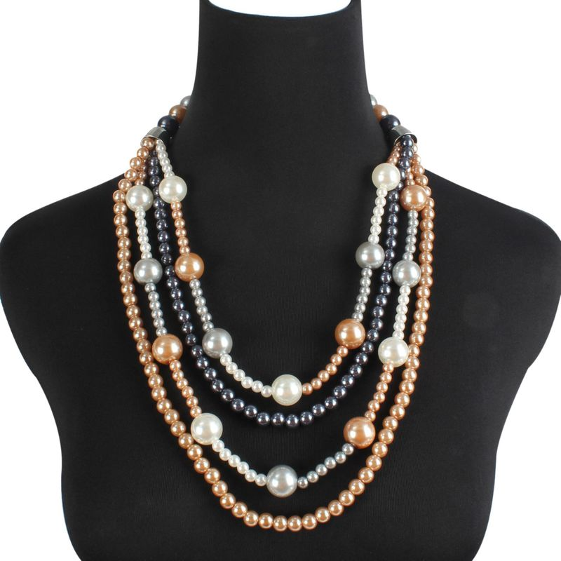 Beads Fashion Geometric necklace  (Color mixing) NHCT0391-Color-mixing