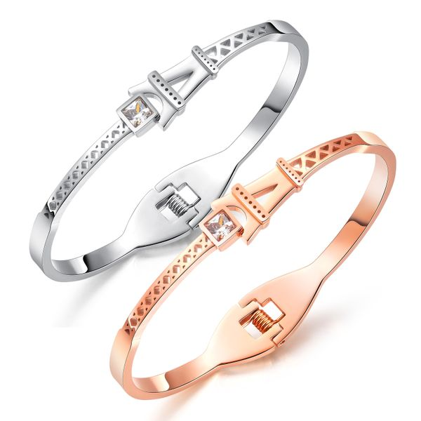 Titanium&Stainless Steel Korea Geometric bracelet  (Rose alloy) NHOP3140-Rose-alloy