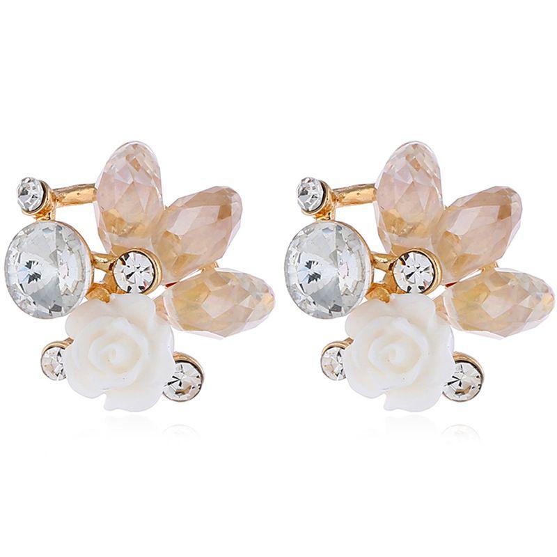 Alloy Fashion Flowers earring  (White KC alloy) NHKQ2238-White-KC-alloy