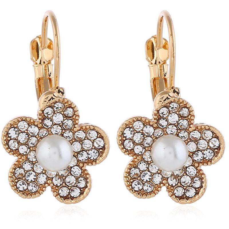 Alloy Fashion Flowers earring  (White KC alloy) NHKQ2239-White-KC-alloy