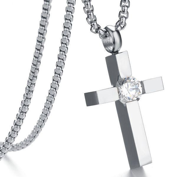 Titanium&Stainless Steel Korea Geometric necklace  (Steel color) NHHF1273-Steel-color