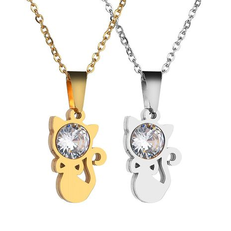 Titanium&Stainless Steel Korea Animal necklace  (Steel color) NHHF1276-Steel-color's discount tags