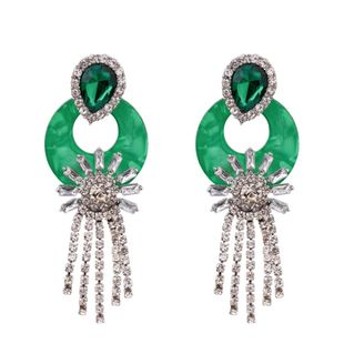 Imitated crystal&CZ Simple Tassel earring  (green) NHKC1460-green's discount tags