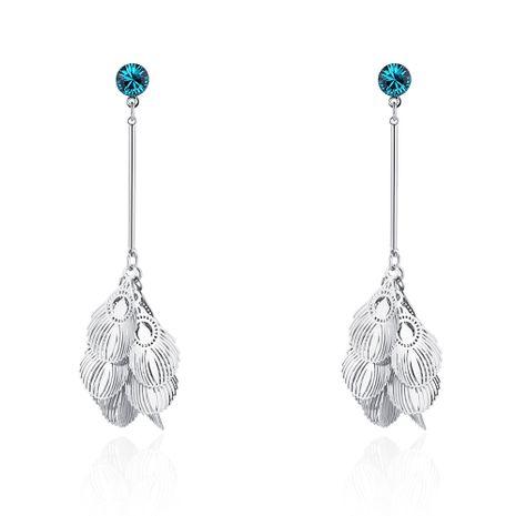 Boucles d'oreilles en alliage en alliage S925 - Plume de queue d'oiseau (platine + zircon bleu) NHNPS5761's discount tags