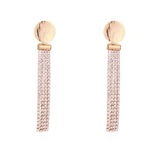 Plated alloy temperament new small round S925 alloy needle tassel earrings (champagne alloy) NHNPS5861's discount tags
