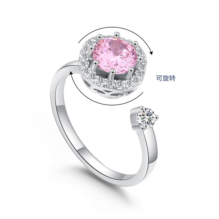 Plated alloy mesh red turn ring  sweetheart white + pink Fashion Jewelry NHKSE300077