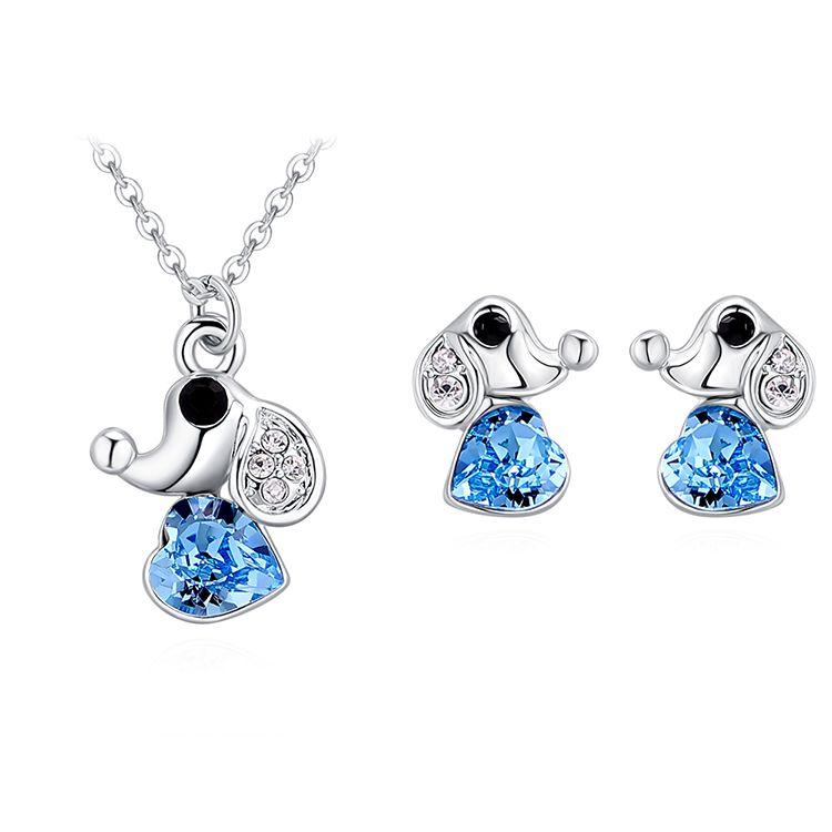 Austrian Imitated crystal Set - Love Puppy (Sea Blue) Fine Jewelry NHKSE30178