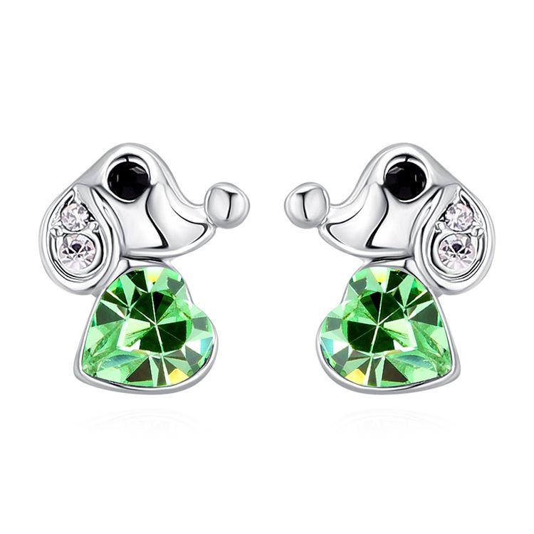Austrian Imitated crystal Stud Earrings - Love Puppy (Olive) Fine Jewelry NHKSE30173