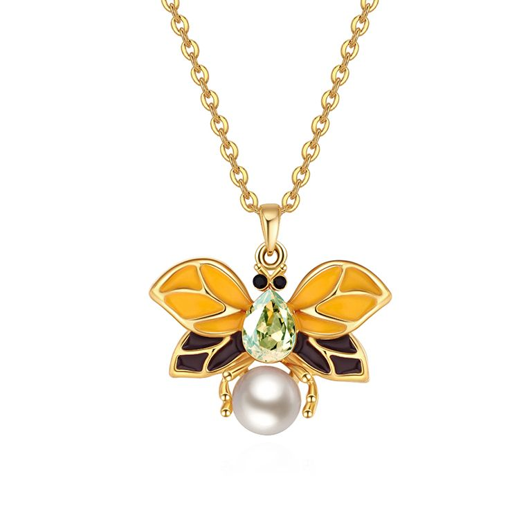 Austrian Imitated crystal Necklace  Butterfly Girl Champagne Alloy + Olive Fine Jewelry NHKSE30085