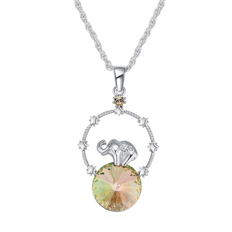 Austrian Imitated crystal Necklace - Creative Elephant (Luminous Green) Fine Jewelry NHKSE30069
