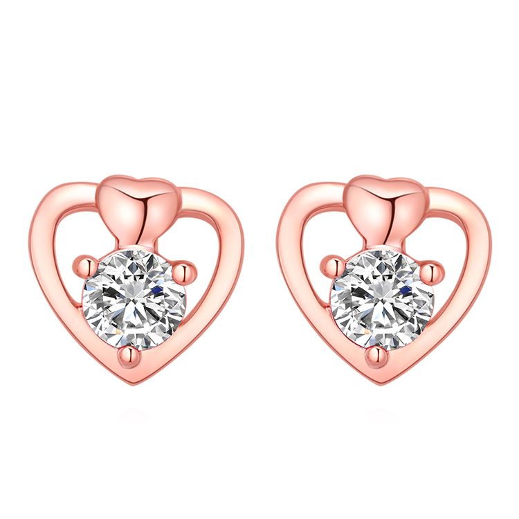 Plated alloy fresh and cool wind love S925 alloy needle earrings rose alloy + white Fashion Jewelry NHKSE30302