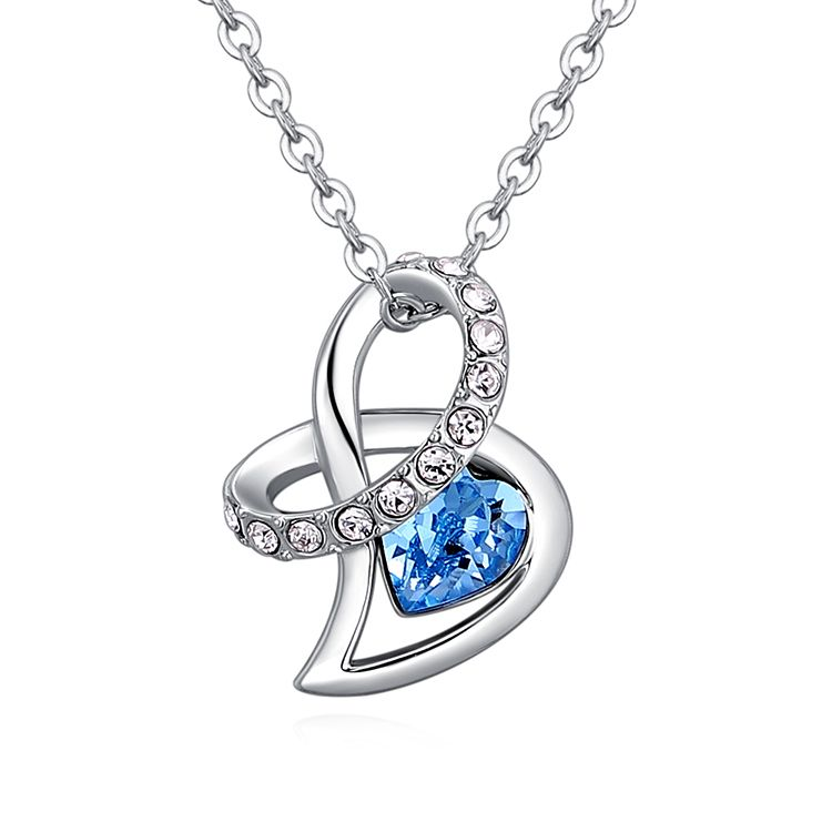Austrian Imitated crystal Necklace  Gift of Love Sea Blue Fine Jewelry NHKSE30282