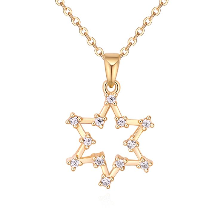 Alloy Necklace - Lucky Six Stars (Champagne Alloy) Fashion Jewelry NHKSE30253
