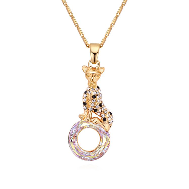 Austrian Imitated crystal Necklace - Elegant Leopard (Champagne Alloy + White) Fine Jewelry NHKSE30243