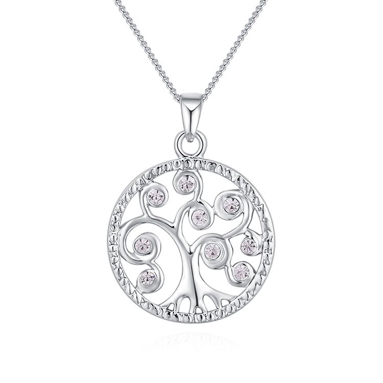 Alloy Necklace--Acacia Tree C (Platinum) Fine Jewelry NHKSE30229
