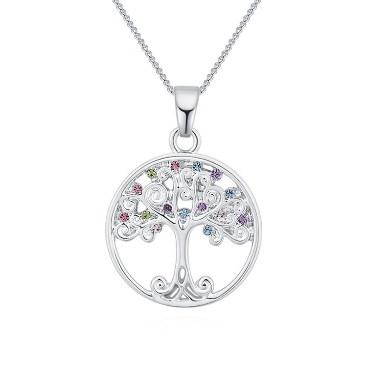 Alloy Necklace--Acacia Tree A (Platinum + Color) Fine Jewelry NHKSE30205