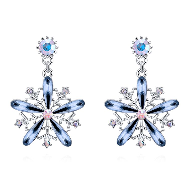 Austrian Imitated crystal S925 Alloy Needle Earrings - Snow Bloom (Ink Blue) Fine Jewelry NHKSE30195