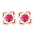 Alloy Sweet and Delicate Flowers S925 Alloy Stud Earrings Platinum + Red Fashion Jewelry NHKSE30294