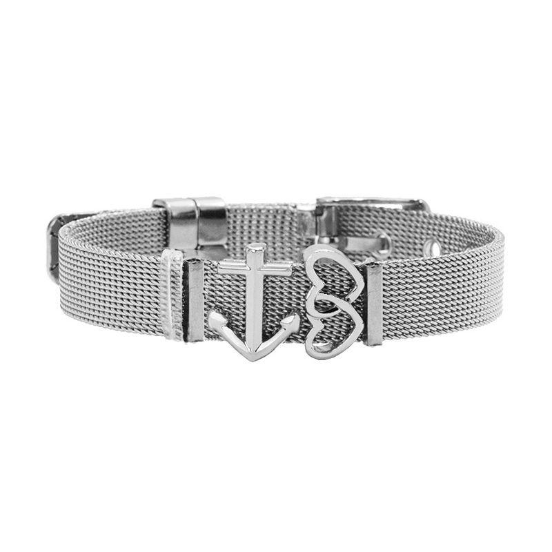 TitaniumStainless Steel Fashion Sweetheart bracelet  Steel color NHHN0377Steelcolor